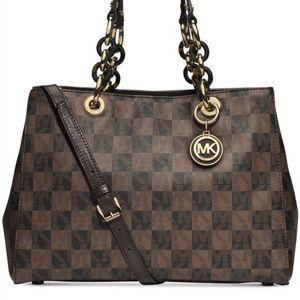 Micheal Kors Cynthia brown checkered satchel